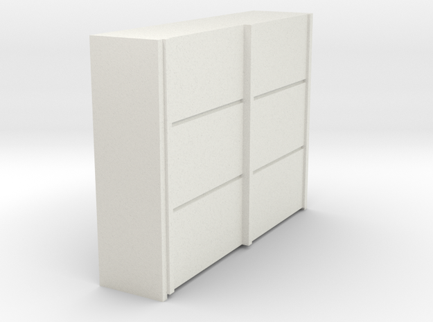 A 019 sliding closet Schiebeschrank 1:87 in White Natural Versatile Plastic: 1:87 - HO