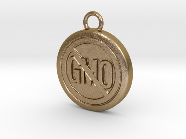 Say No To GMO in Polished Gold Steel
