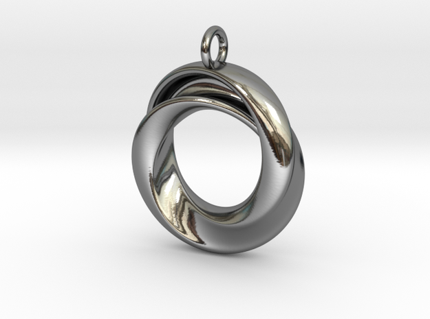 A Torus with a twist in Fine Detail Polished Silver