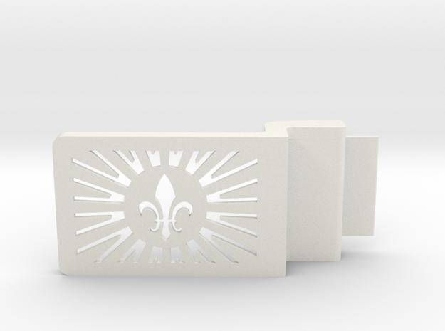 Fleur De Lis Belt Buckle in White Natural Versatile Plastic