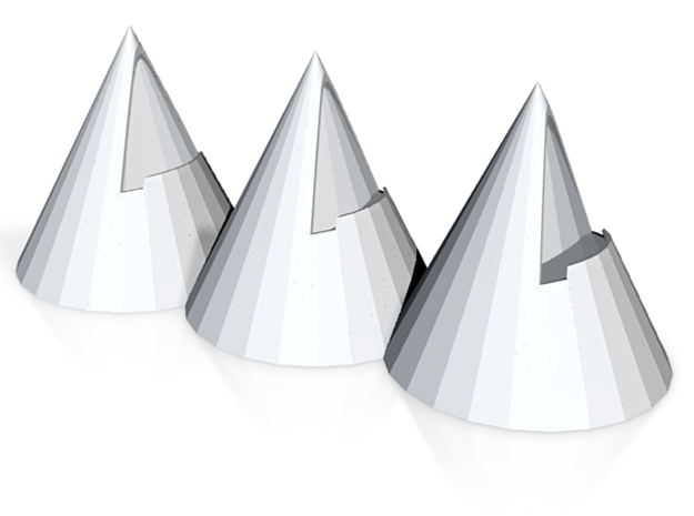 Cones, The Three Tenors white 10.75 x 4in 3d printed