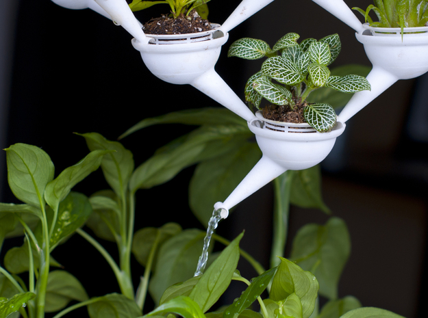 Aqueduct Mini Planters (10 Pack) 3d printed The water from the bottom planter empties out into a larger potted plant