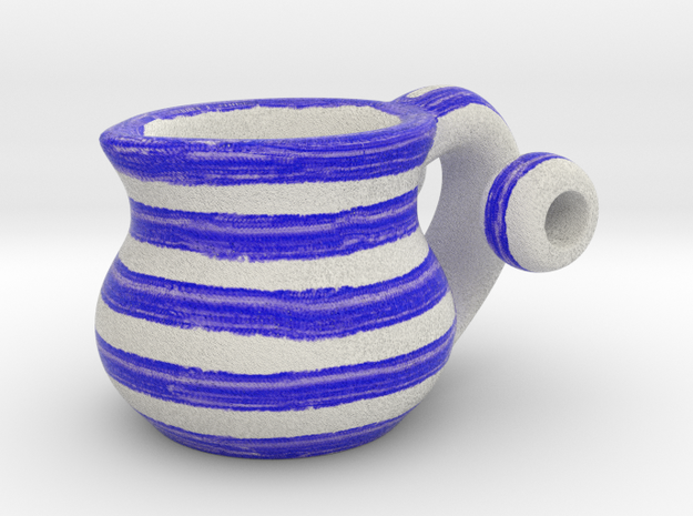 Naive Pitcher Pendant with beads - Blue Stripes in Full Color Sandstone