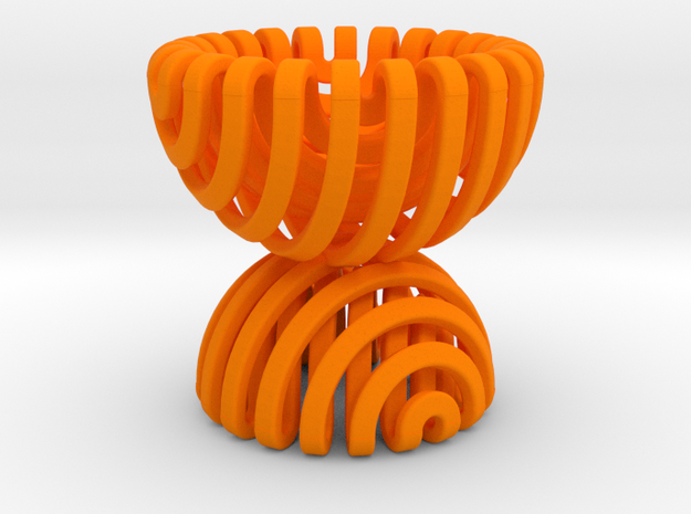 Sphericon Pair Egg Cup in Orange Strong & Flexible Polished
