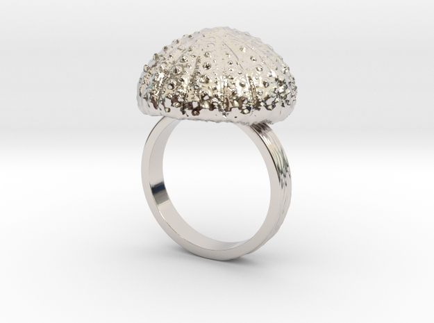 Urchin Statement Ring - US-Size 13 (22.33 mm) in Rhodium Plated Brass