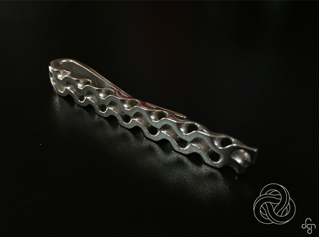 Gyroid Tie Bar in Polished Silver