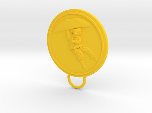Umbrella Boy Keychain in Yellow Processed Versatile Plastic