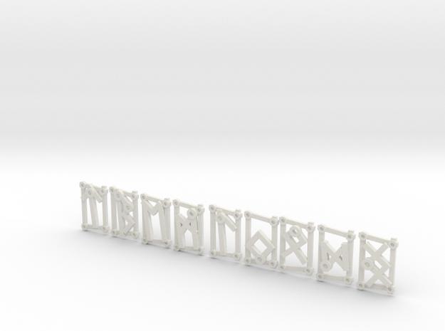 3rd Aett - Futhark Nordic Rune Stones - 3 of 4 in White Strong & Flexible