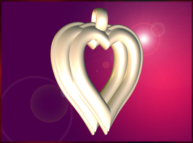 Twin Hearts Pendant in White Natural Versatile Plastic