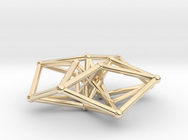 Toroidal Hypercube 35mm 1.5mm Time Traveller * in 14k Gold Plated Brass