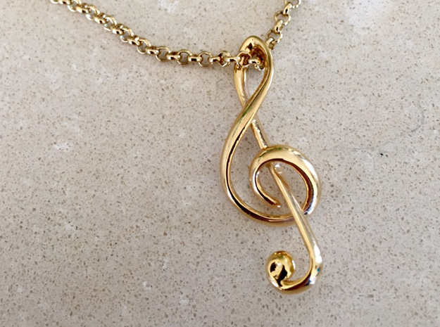 Treble Clef Pendant in 18k Gold Plated Brass