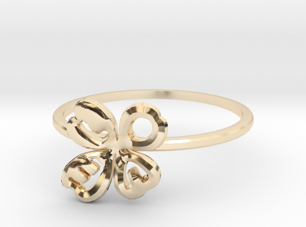 Clover Ring Size US 7 (17.35mm) in 14k Gold Plated Brass