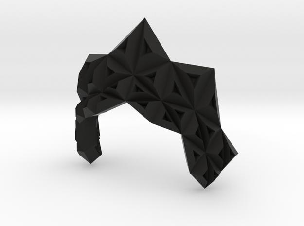 Origami Ruff in Black Natural Versatile Plastic