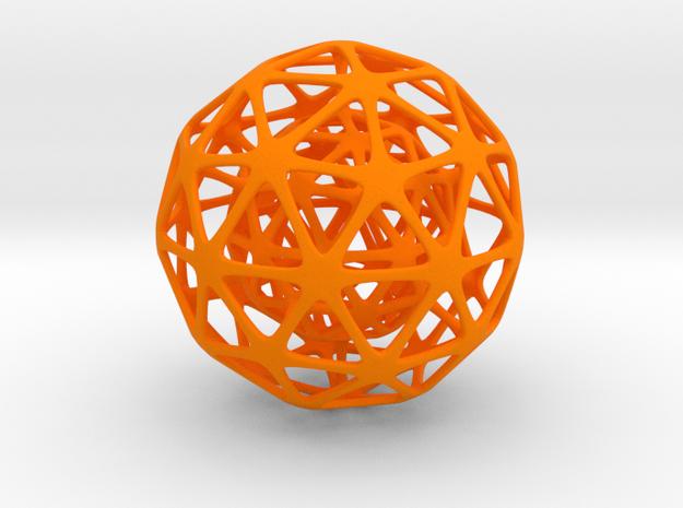 Nested Spheres  in Orange Processed Versatile Plastic