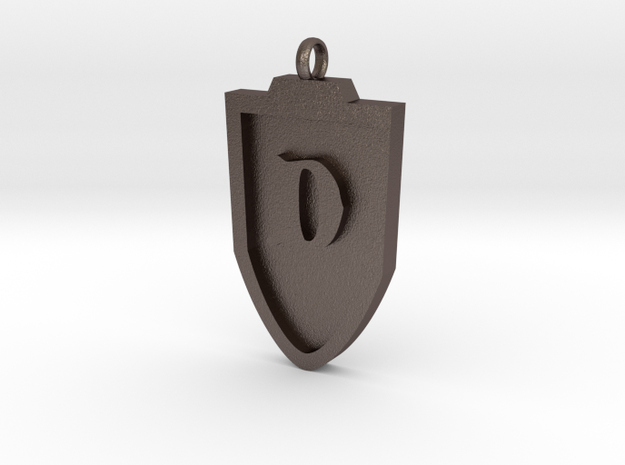 Medieval D Shield Pendant in Stainless Steel
