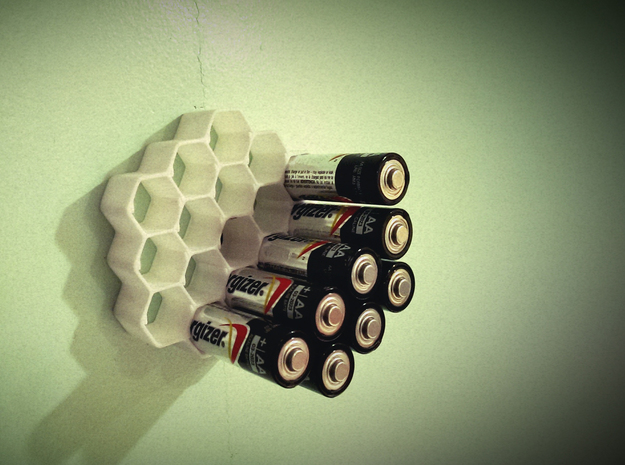 Honeycomb Battery Dispenser AA in White Strong & Flexible Polished