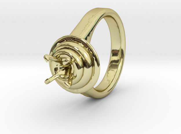 Double Ring Ø17.8 For Diamond 8 Mm in 18k Gold Plated Brass