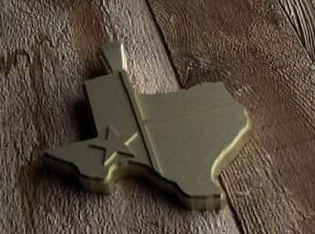 Pendant State of Texas with flag in Polished Brass