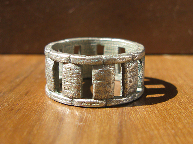 Stone Circle Ring in Polished Bronzed Silver Steel: 12 / 66.5