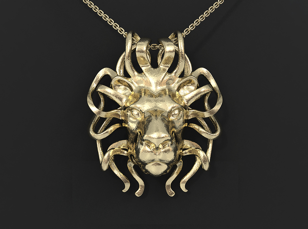 Leo Zodiac Pendant in 14k Gold Plated Brass