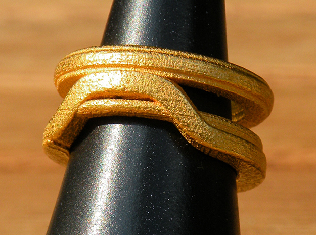 Balem's Ring1 - US-Size 3 (14.05 mm) in Polished Gold Steel