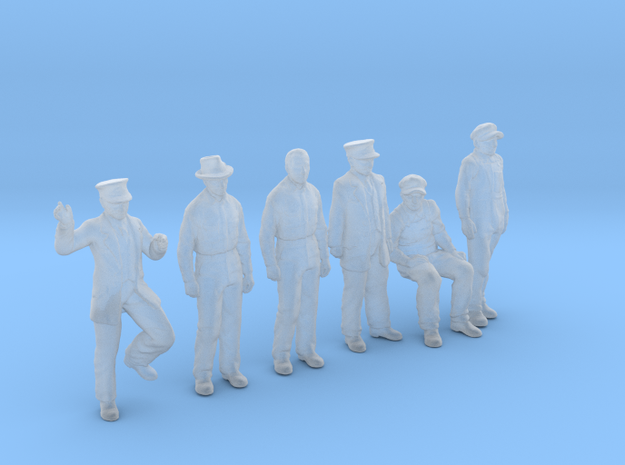 6 Figures HO scale 1:87 scale in Smoothest Fine Detail Plastic