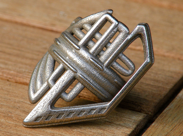 Balem's Ring2 - US-Size 2 1/2 (13.61 mm) in Polished Bronzed Silver Steel