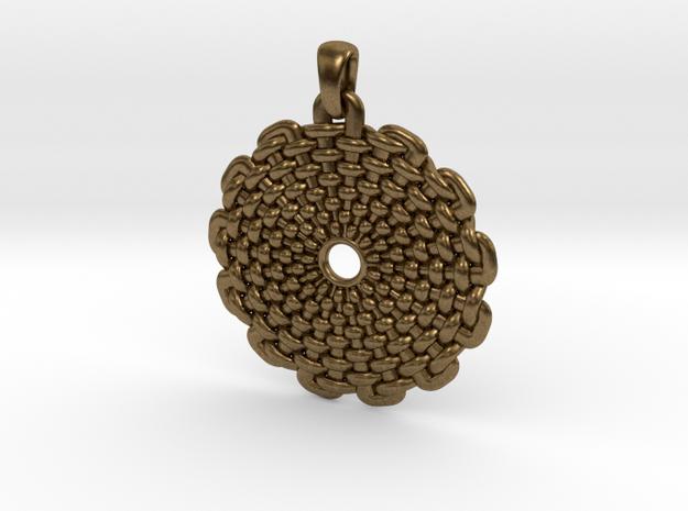 Wicker Pattern Pendant Big in Raw Bronze