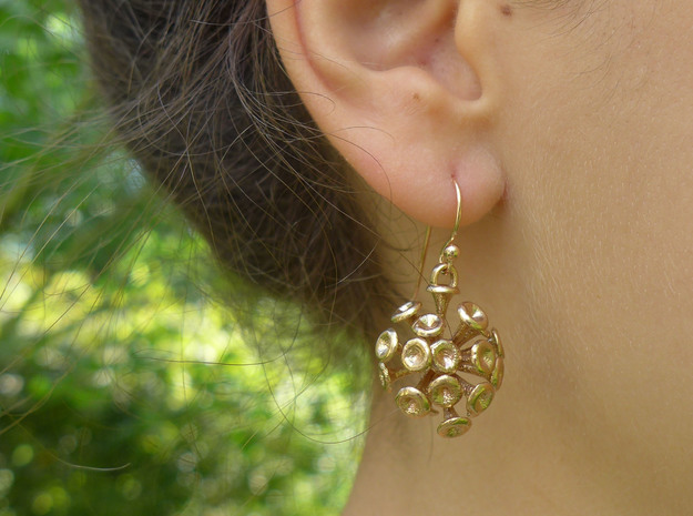 Discosphaera Coccolithophore earrings in Natural Bronze