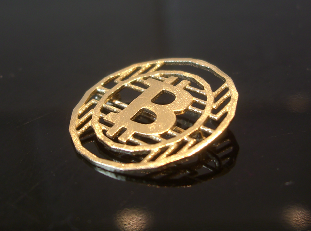 Bitcoin Pin - 20mm in Natural Brass
