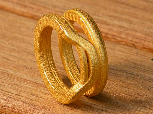 Balem's Ring1 - US-Size 6 1/2 (16.92 mm) in Polished Gold Steel