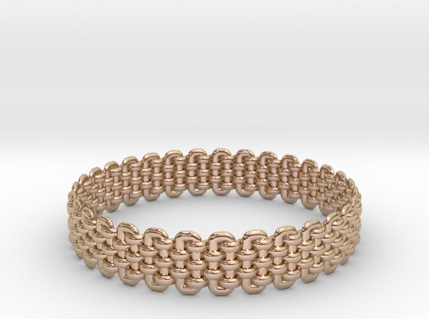 Wicker Pattern Bracelet Size 1 in 14k Rose Gold Plated