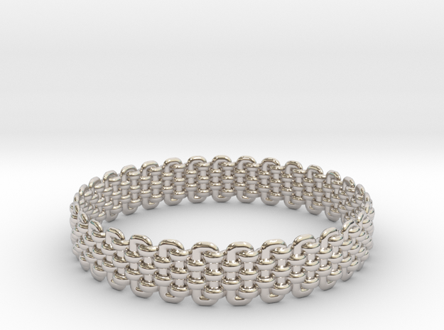 Wicker Pattern Bracelet Size 2 in Rhodium Plated Brass