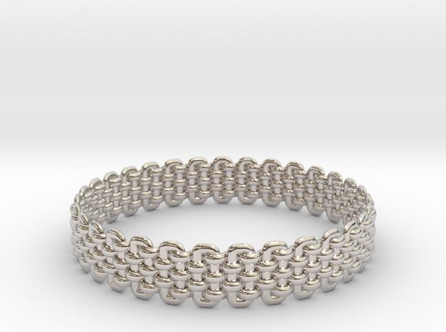 Wicker Pattern Bracelet Size 2 in Rhodium Plated