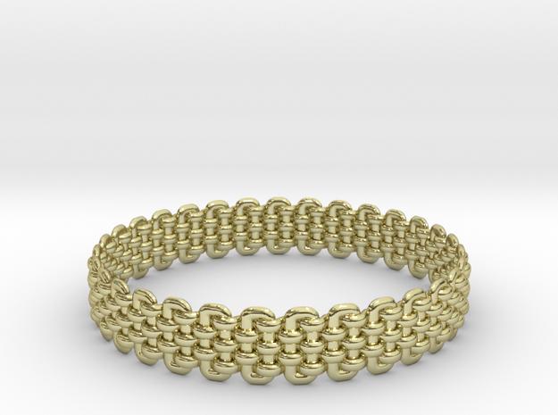 Wicker Pattern Bracelet Size 3 in 18k Gold Plated