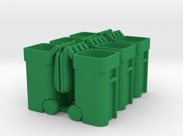 Trash Cart (6) Open - 'O' 48:1 Scale in Green Processed Versatile Plastic
