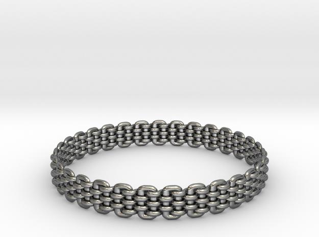 Wicker Pattern Bracelet Size 10 or USA Large Size in Premium Silver