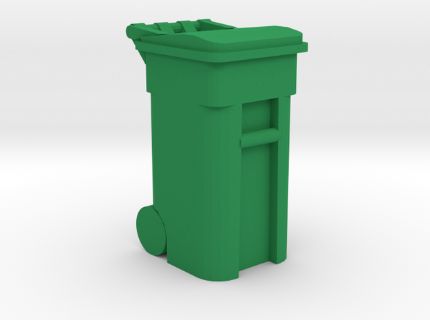 Trash Cart Closed- 'O' 48:1 Scale in Green Processed Versatile Plastic