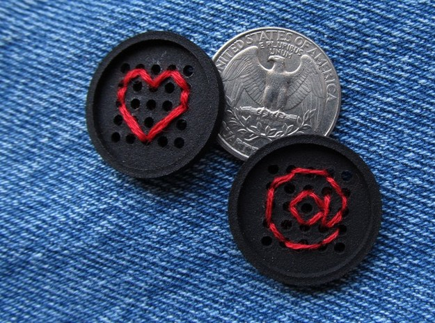"1"" embroidery button (two) 3d printed"