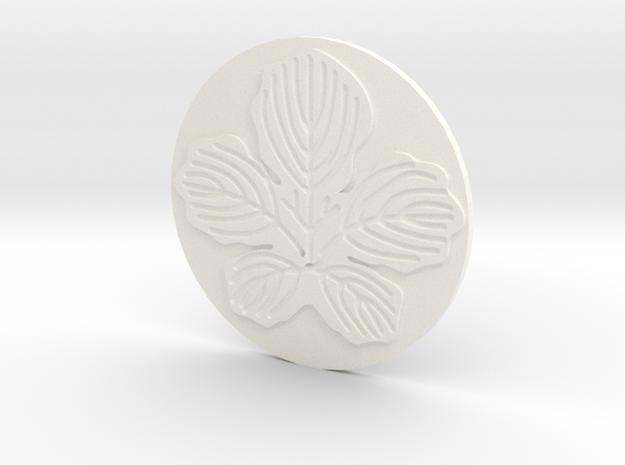 Paper Mulberry Leaf Coaster in White Processed Versatile Plastic