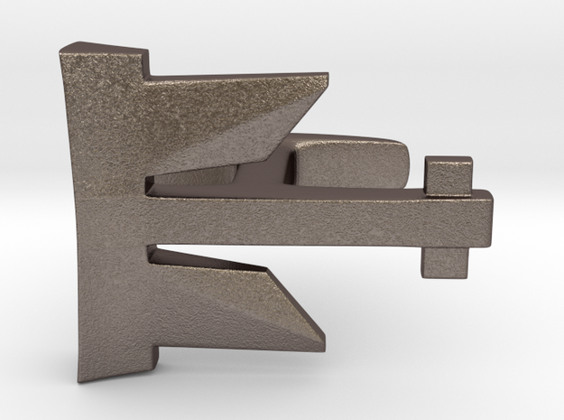 Anchor Cufflink in Polished Bronzed Silver Steel