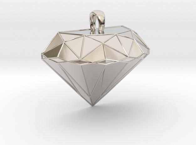 Metal Diamond-Shaped Pendant in Rhodium Plated