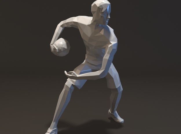 Basketball Player Miniature in White Strong & Flexible