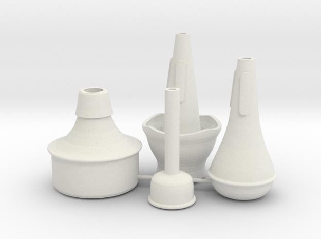 """Mini Trumpet Mutes (for """"Michael's Mini Trumpet"""") in White Natural Versatile Plastic"""