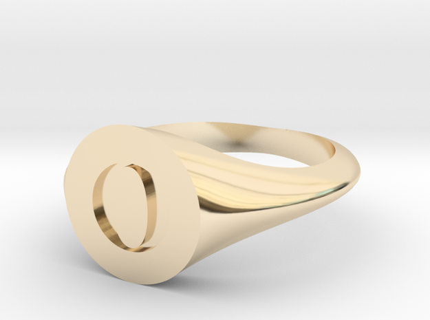 Letter O - Signet Ring Size 6 in 14k Gold Plated Brass