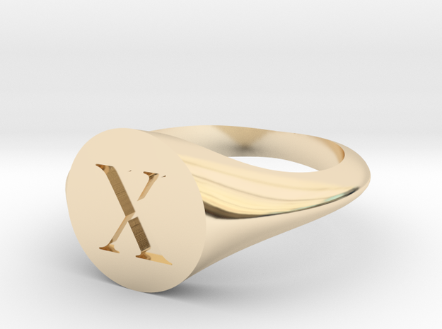 Letter X - Signet Ring Size 6 in 14k Gold Plated Brass