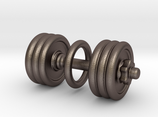 Dumbbell With Loop in Polished Bronzed Silver Steel