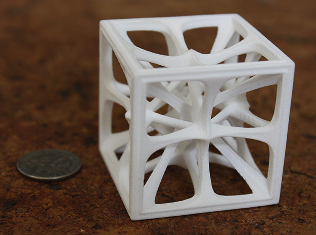 Hexahedron in White Strong & Flexible Polished: Medium