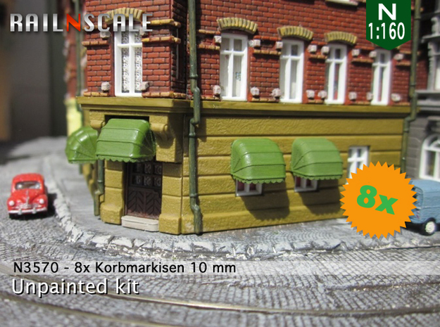 8x Korbmarkise 10 mm (N 1:160) in Frosted Ultra Detail