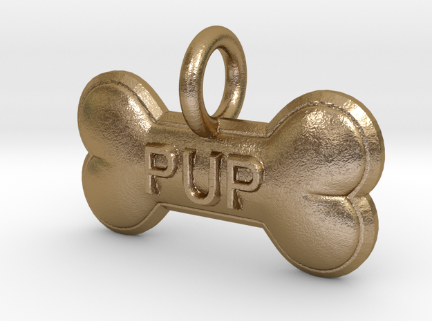 PUP charm in Polished Gold Steel